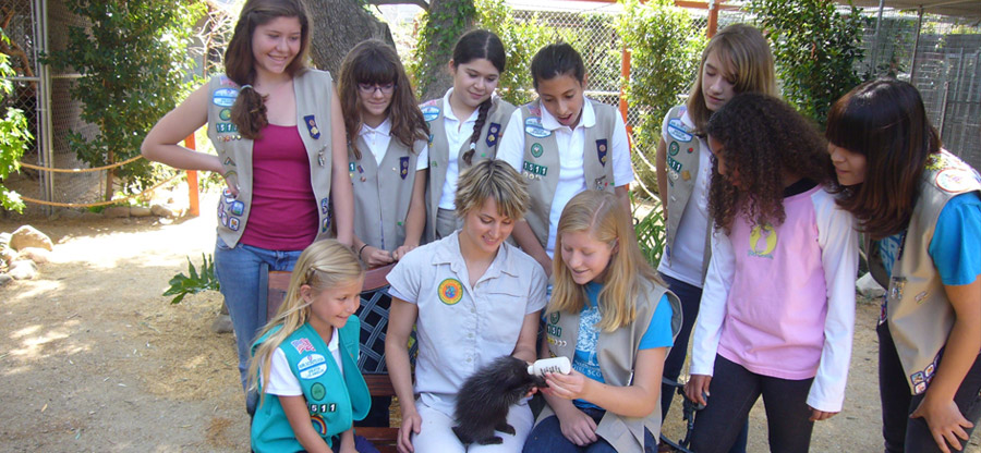Girl Scouts with baby Porcupine