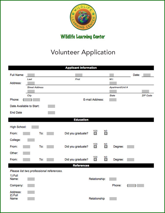 WLC Volunteer Application