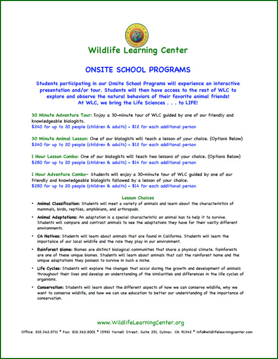 Wildlife Learning Center - Onsite School Programs